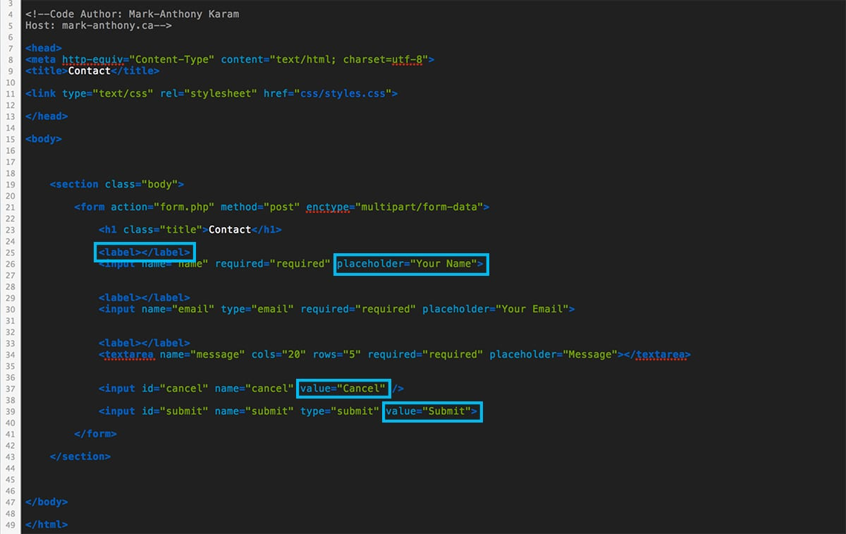 Html5 contact form using css php mark anthony contact form html5 baditri Gallery