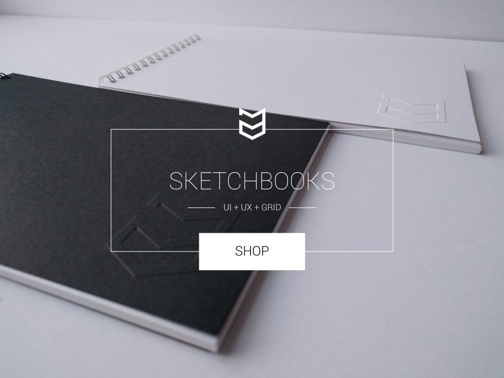 Get a UI / UX Sketchbook and Grid Sketchbook