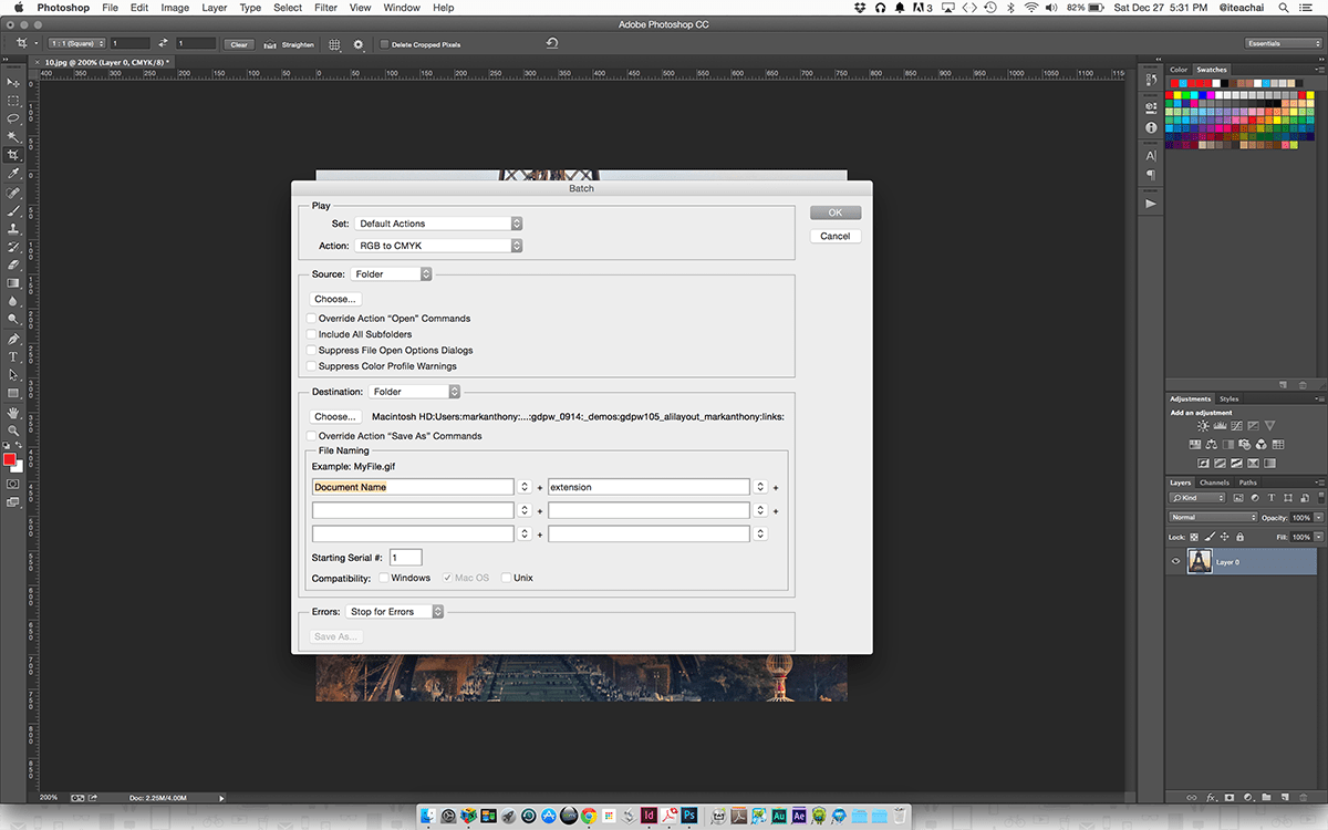 Photoshop Batch Automation Dialog