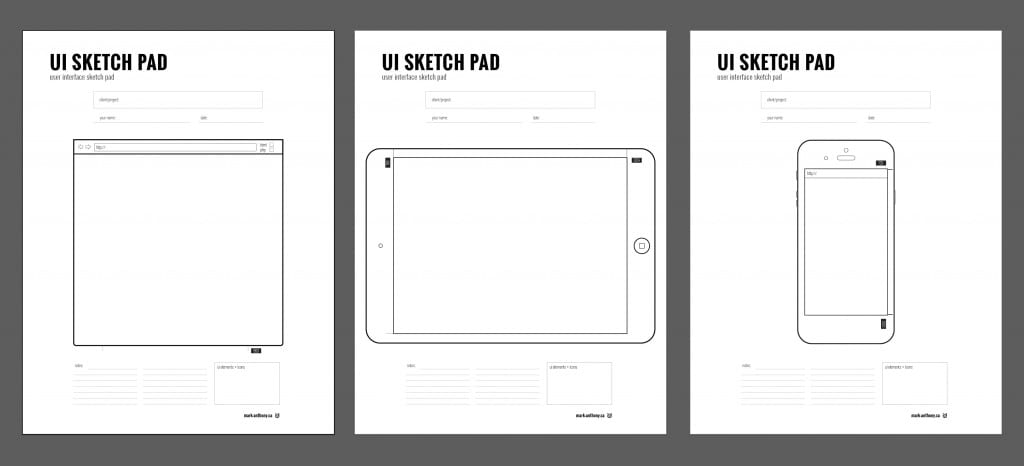 Wireframe Sketch Pad Sheets