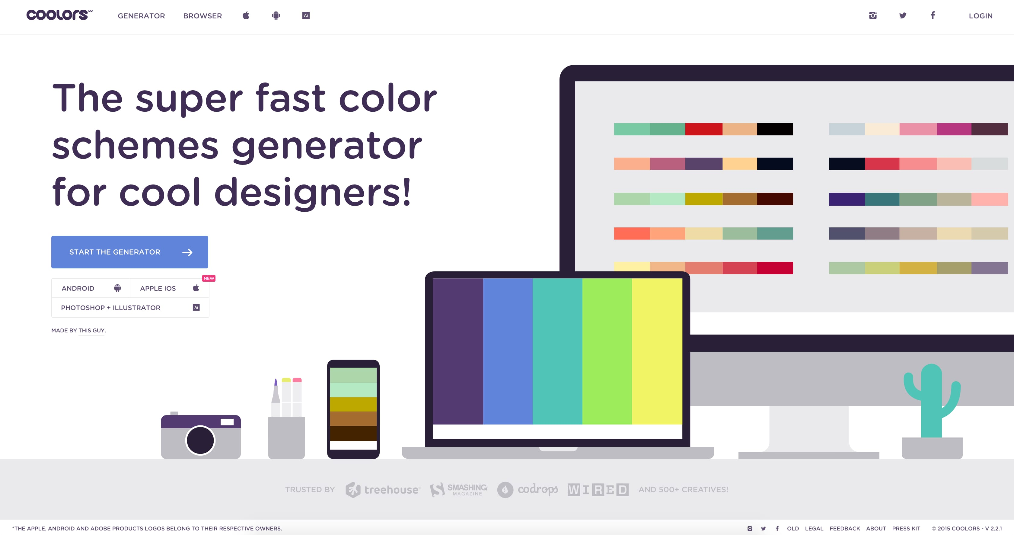 Coolor web design tools