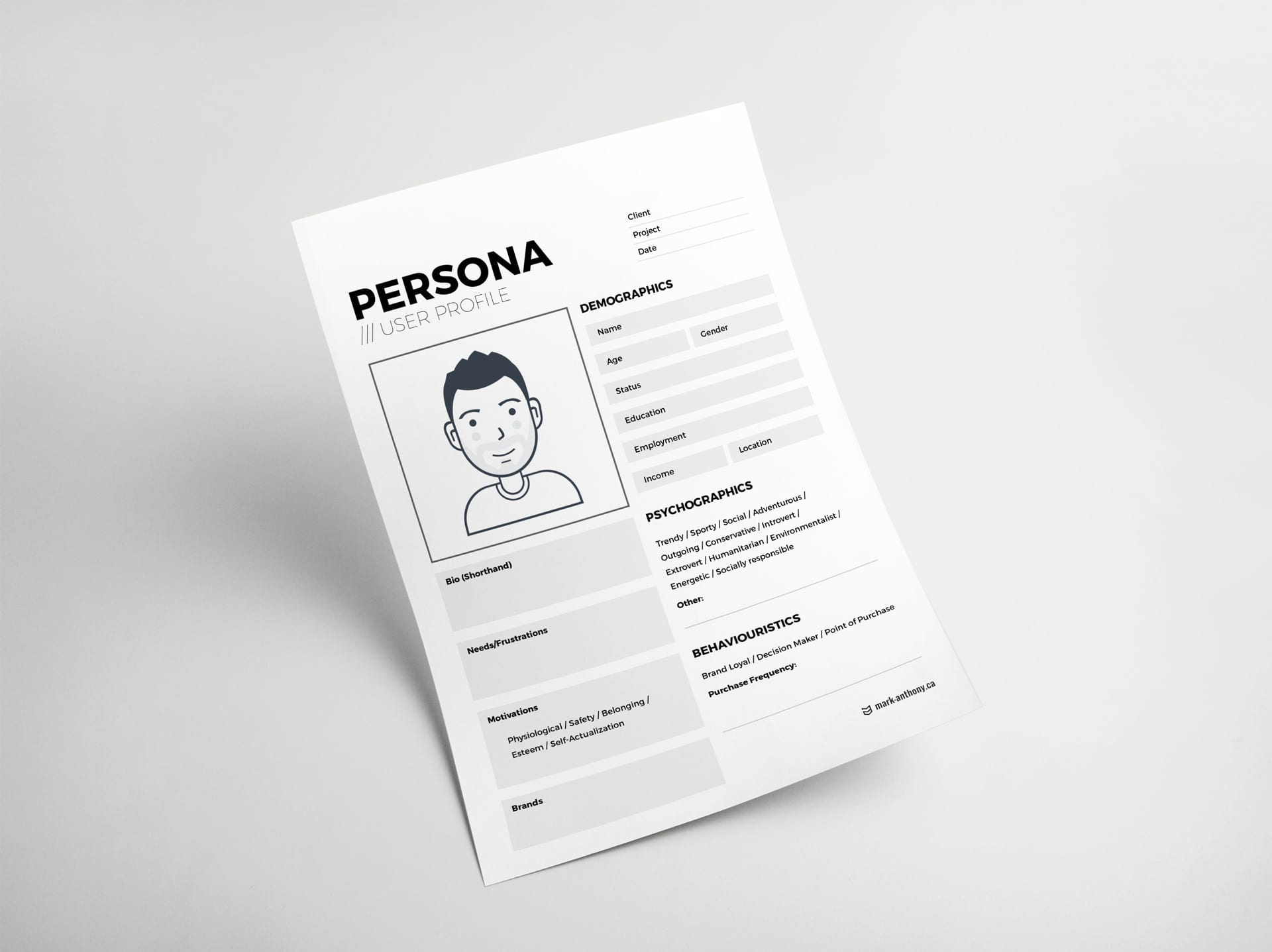 Mark Anthony Karam Free user persona PDF template